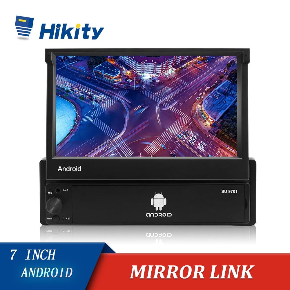 Hikity Android 8.1 GPS 1 Din Car Radio Retractable Wifi Autoradio 7'' Mirror Link Car Multimedia MP5 Player Support Rear Camera