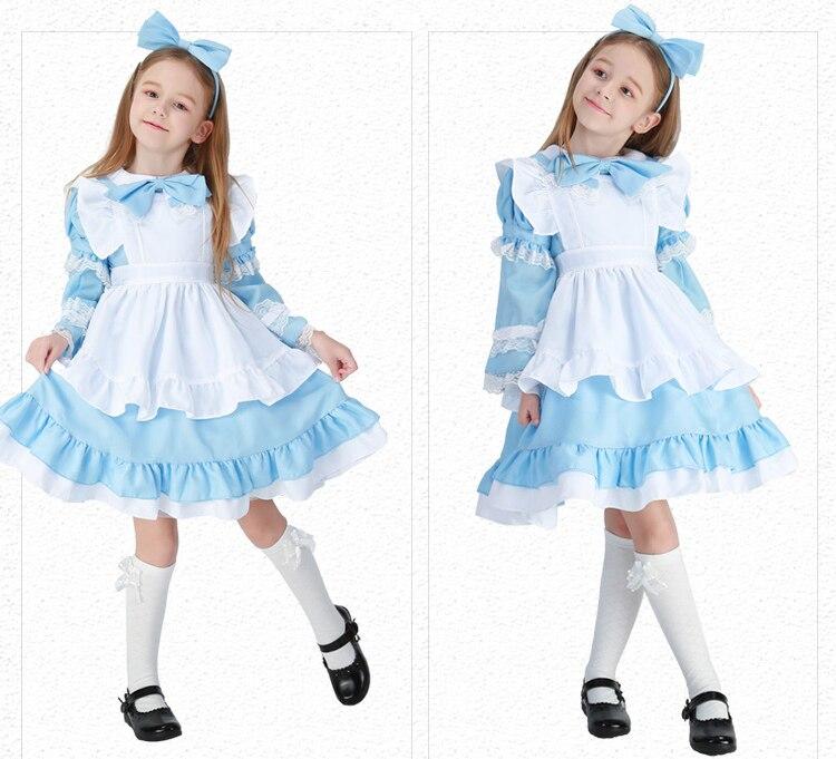 Halloween Deluxe Girl's Alice in Wonderland Costume Kid Storybook Lolita Maid Book Week Children's Day Outfit Fancy Dress