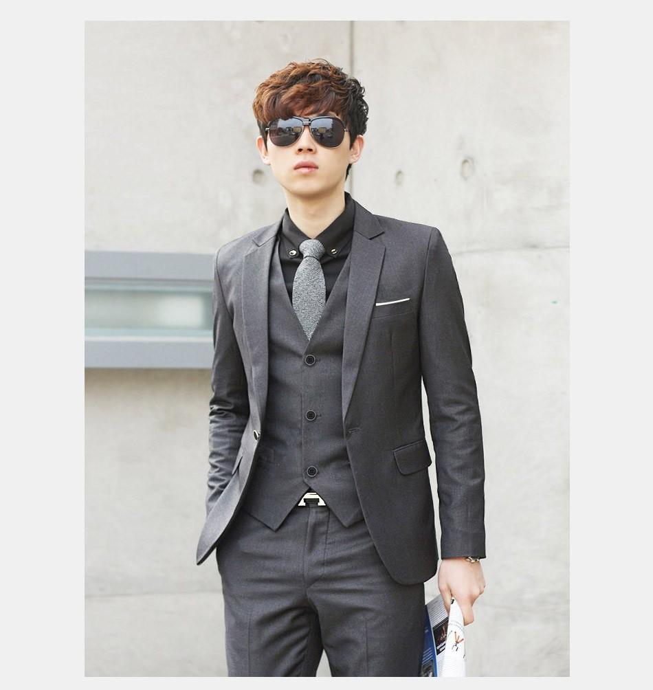 (Kurtka + Spodnie + Tie) luksusowe Mężczyzn Garnitur Mężczyzna Blazers Slim Fit Garnitury Ślubne Dla Mężczyzn Kostium Biznes Formalne Party Niebieski Klasycznej Czerni 5
