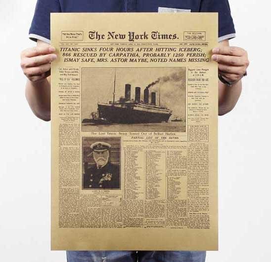 Ornement imprimé Vintage de film rétro New York, papier Kraft, autocollant mural, décoratif pour salon