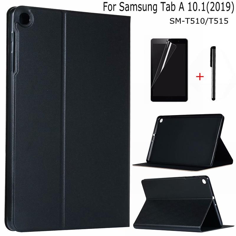 """Premium PU Leder Silikon Abdeckung für Samsung Galaxy Tab EINE 10,1 SM-T510 SM-T515 (2019) 10,1 """"Tablet Funda Capa Fall + Film + Stift"""