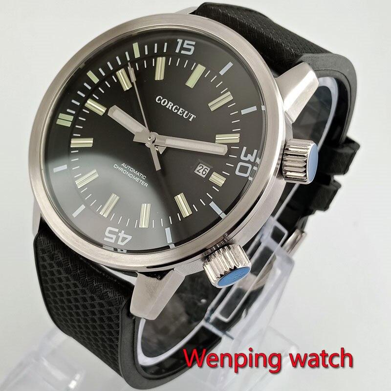 Corgeut-ساعة يد رجالية سوداء للأعمال ، 45 مللي متر ، ضبط الحافة الداخلية ، حركة ميكانيكية ، تاريخ ، يوم ، W2801
