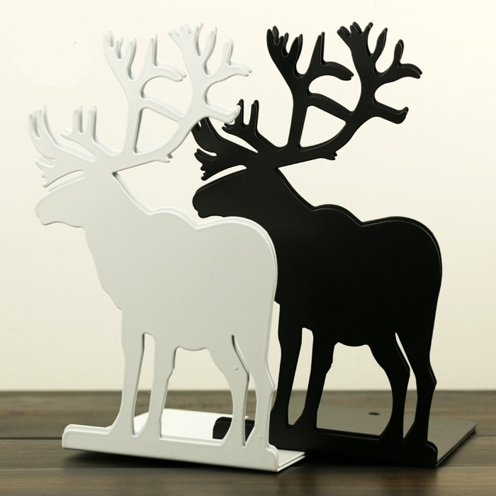 2 pcs/Pair צבי מתכת תומכי ספרים לבן שחור כחול אדום Elk דקורטיבי ספר סוף תמיכה מחזיק שולחן עומד לספרים bookholder