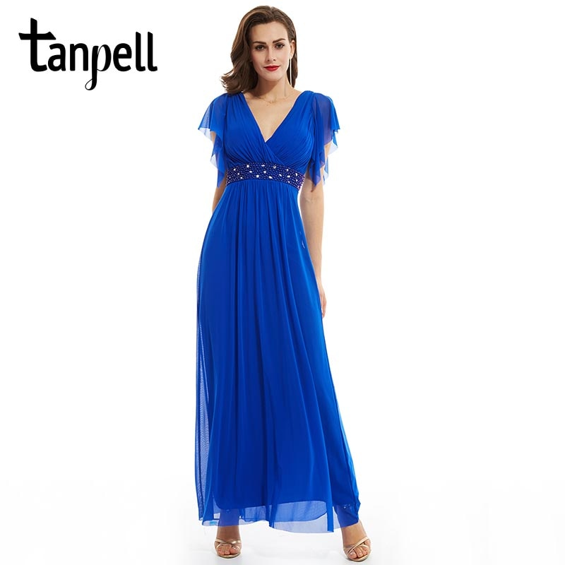 Tanpell v neck długa suknia ciemnoniebieska linia sukienka do kostek kobiety rękawy cap szyfon zdobiony formalna suknia wieczorowa