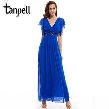Tanpell col en v longue robe de soirée bleu royal foncé une ligne cheville longueur robe femmes cap manches perlée en mousseline de soie formelle robe de soirée
