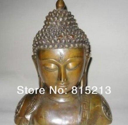 "Bi0070 Große Chinesische Bronze Shakyamuni Buddha Büste Statue 11 ""H"