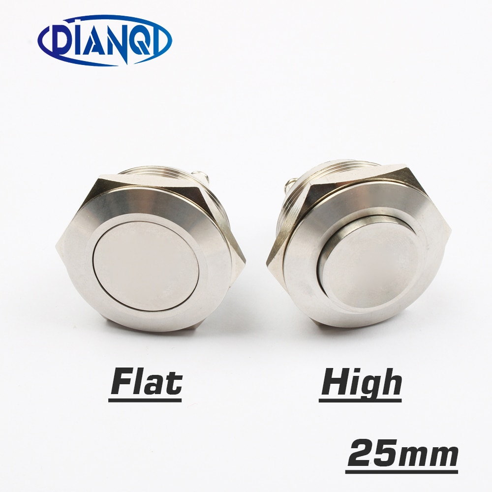 25mm stainless steel metal push button switch flat High round momentary 2 screw terminal car switches 1NO