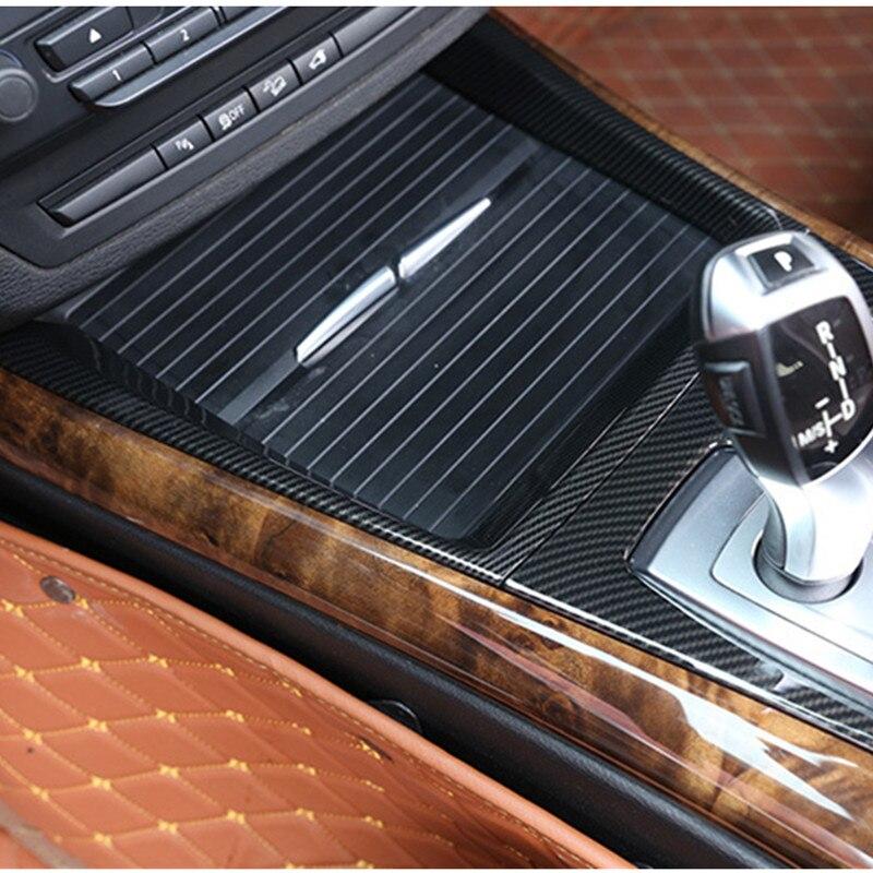 Consola Central Soporte para vasos cubierta de marco decorativo embellecedor para BMW X5 E70 2008-2013 accesorios interiores de Color de fibra de carbono