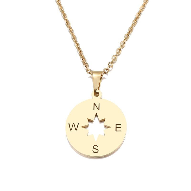 12 шт./лот из нержавеющей стали золотые ювелирные изделия винтажное ожерелье подвеска с компасом женские цепочки ожерелья туристические украшения подарки