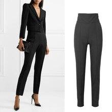 Printemps nouvelle marque de mode taille haute plus longue longueur angleterre styles titching pantalon femme était mince crayon pantalon wq790 livraison directe