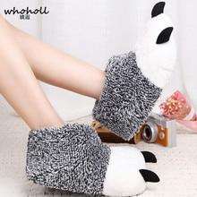 En gros hiver chaud homme femmes maison pantoufles Animal panda patte en peluche pantoufles femme thermique doux coton intérieur maison chaussures