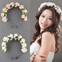 Belle guirlande de fleurs bandeau de mariée porte-couronne cerceau ornements de mariage diadème de mariage