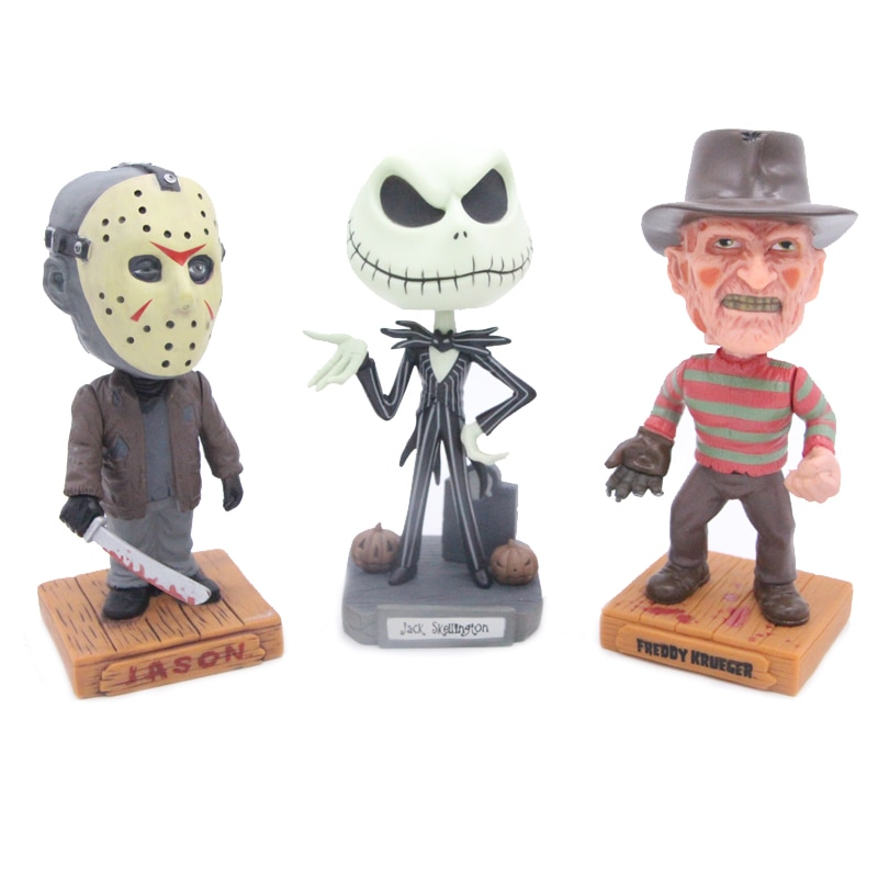 Nightmare Before Christmas Jack Skellington & Freddy & Freitag die 13 Jason Wackelkopf Verrückte Wobbier Figur Spielzeug 20 cm