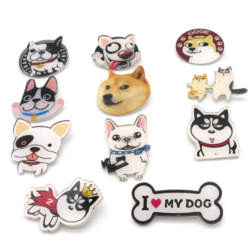 Increíble 50 unids/lote mezcla 11 diseños corte Pines de perro camisa Broche placa con PIN de dibujos animados Harajuku Bagpack Nip Animal Badge Broche Pins Badge