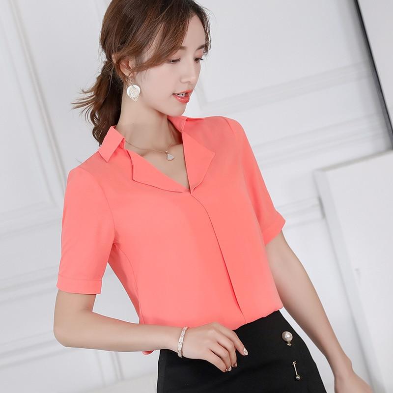 Blusas coreanas para mujer, blusa de chifón, camisas de manga corta ajustadas con cuello vuelto informales para oficina, camiseta roja azul para mujer 2019