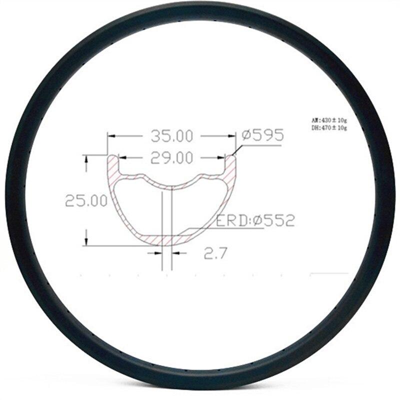 Grafeno disco de carbono mtb tubeless jantes 27.5er 35x25mm assimetria borda do disco mtb jantes de carbono 650b aro de bicicleta AM 430g roda da bicicleta
