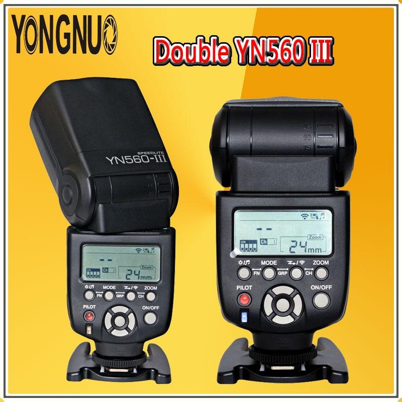 2x YONGNUO YN560 III 2.4G Sem Fio Flash Speedlite YN560III Lanterna Para Canon Nikon Pentax Olympus Panasonic DSLR Câmeras