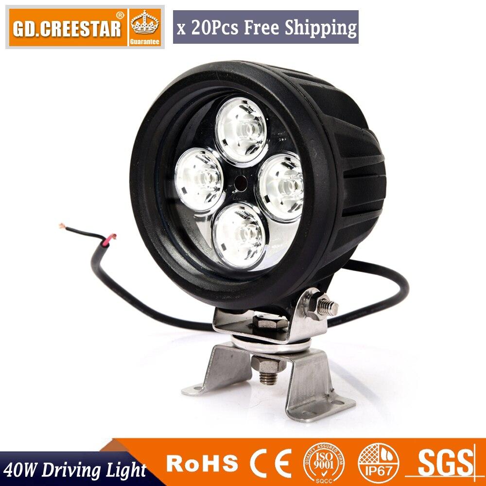 40Watts Round Led Offroad Lights 12V 10W/PC 3600Lm Super bright Led Work light Spot Flood Driving lights x20pcs/lots