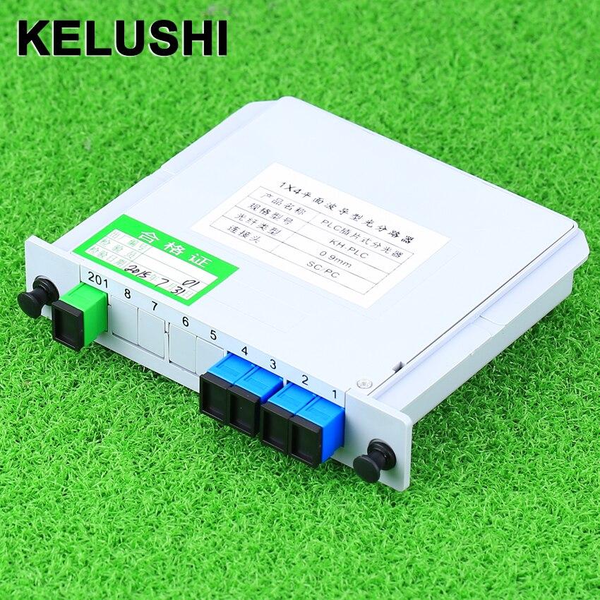 KELUSHI SC/UPC 1*4 Module PLC Fiber Optical Splitter SC Connector PLC Splitter Optical Fiber Branching Device