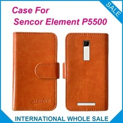 Hot! Em estoque elemento P5500 caso 6 cores preço de fábrica, Couro de alta qualidade tampa exclusiva para Sencor elemento P5500 rastreamento