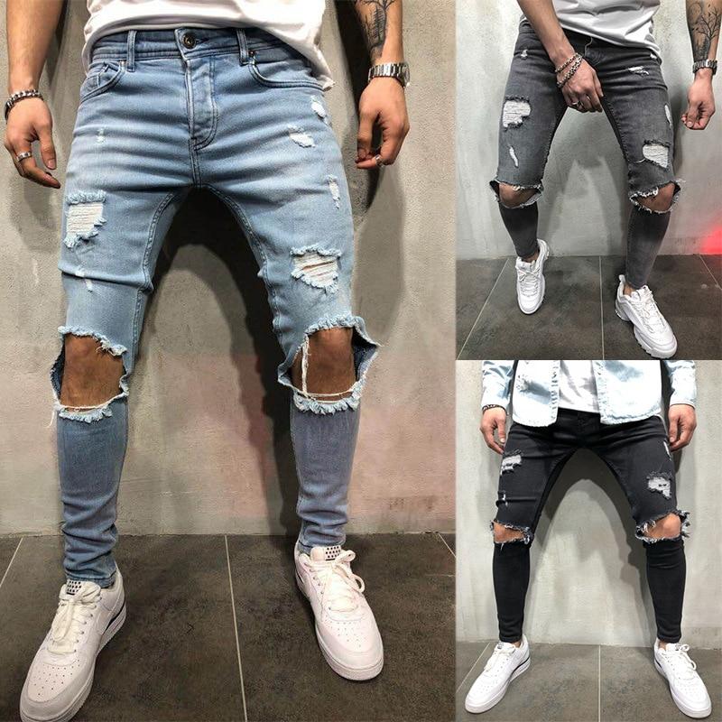Moda Streetwear Jeans para hombre Vintage azul gris Color Skinny destruido rasgados Jeans roto Punk pantalones Homme Hip Hop Jeans hombres
