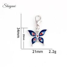 Pendentifs de charmes de papillon démail en métal dalliage de 34*21mm pour le médaillon de mémoire bracelet à bricoler soi-même accessoires de trouvailles de bijoux de collier