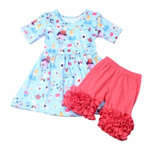 New Arrivals Baby Girls Clothes Blue Pink Outfits Boutique Princess Pattern Cotton Solid Ruffle Shorts Clothing Set Wholesales