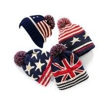 Winter Hoed Vrouwen Usa Amerikaanse Vlag Beanie Wol Winter Warm Gebreide Caps Hoeden Voor Womeskullies Mutsen Gorros Femme Motorkap