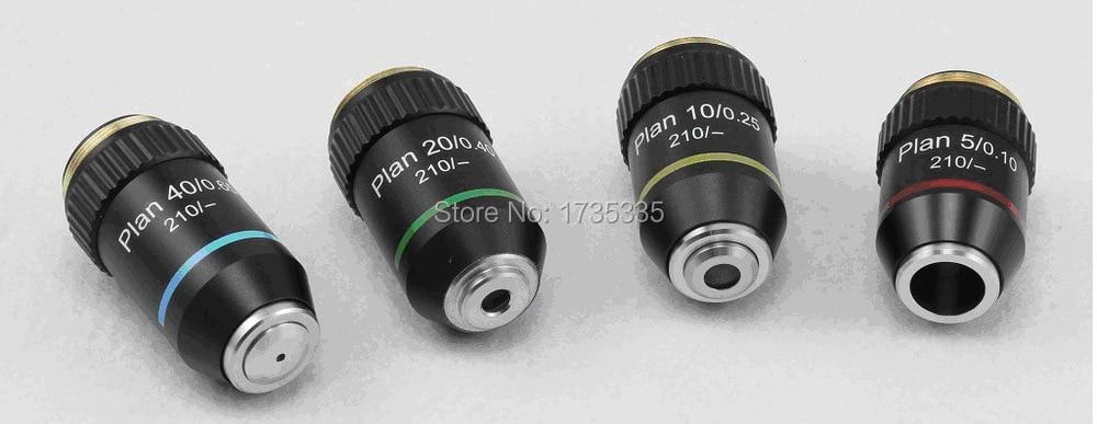 Plan de sistema óptico finito objetivo acromático microscopio metalúrgico objetivo 5X, 10X, 20X, 40X, distancia conjugada 245mm