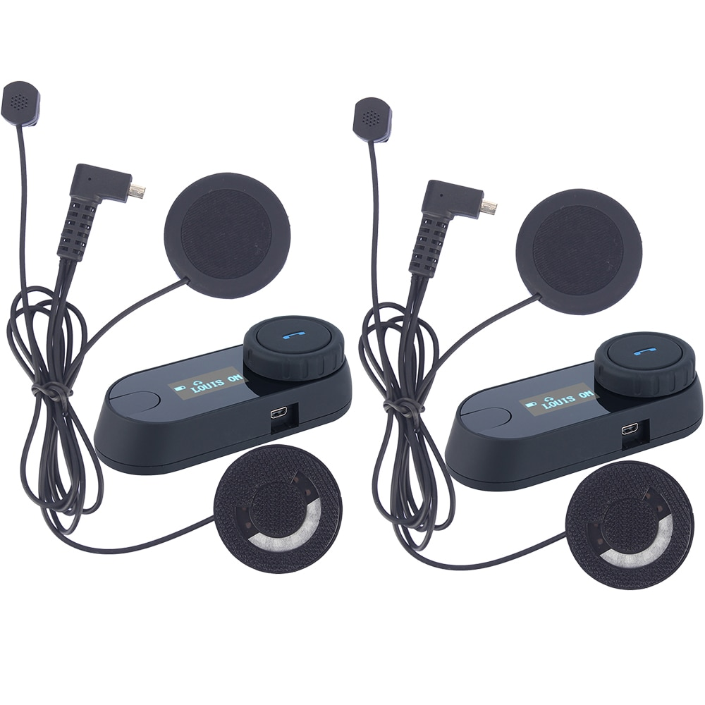 2 pcs Bluetooth Motorcycle Helmet Intercom Motorrad Interphone Helmet Headset LCD screen FM Radio+Soft Earphone