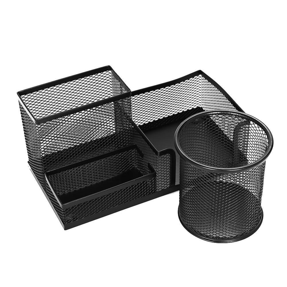 XRHYY portalápices de escritorio de 4 compartimentos negro de malla metálica para escritorio almacenamiento ppapelería organizador caja de accesorios contenedor