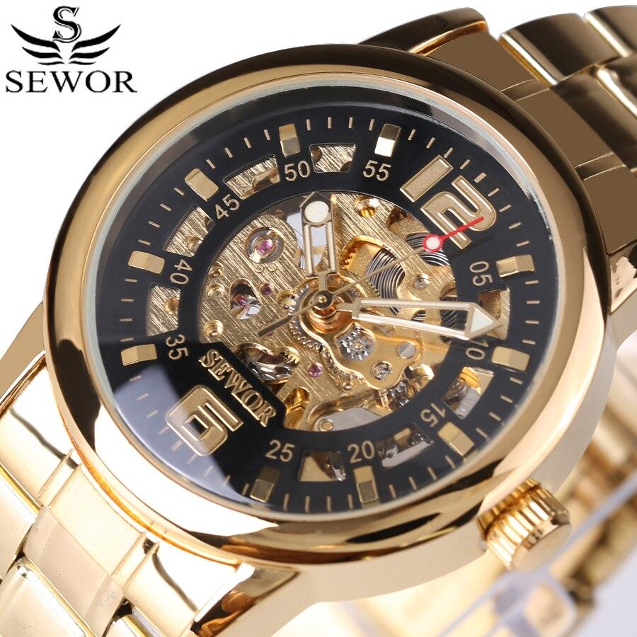 Reloj Mecánico de esqueleto dorado a la moda SEWOR para hombre, reloj de pulsera clásico Steampunk de acero inoxidable, reloj de pulsera de regalo para hombre, relojes nuevos