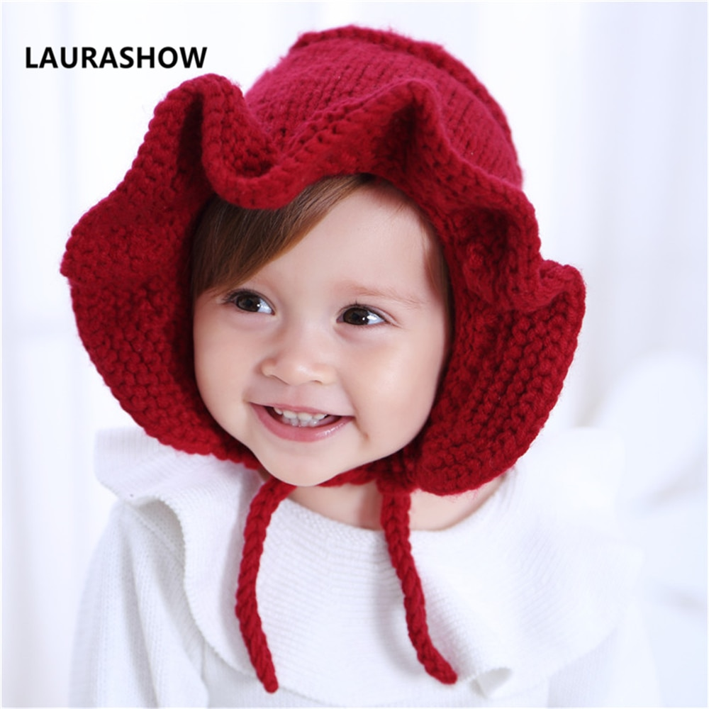 Gorro de lana de abrigo para bebé LAURASHOW, accesorios para el cabello para niños, gorro de punto