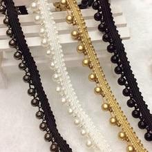 Zroszony koronkowe wstążki perły aplikacje wykończenia biały i czarny zroszony taśma Bandlet taśmy koronki Korea styl 19 m/lot 0.8-1cm