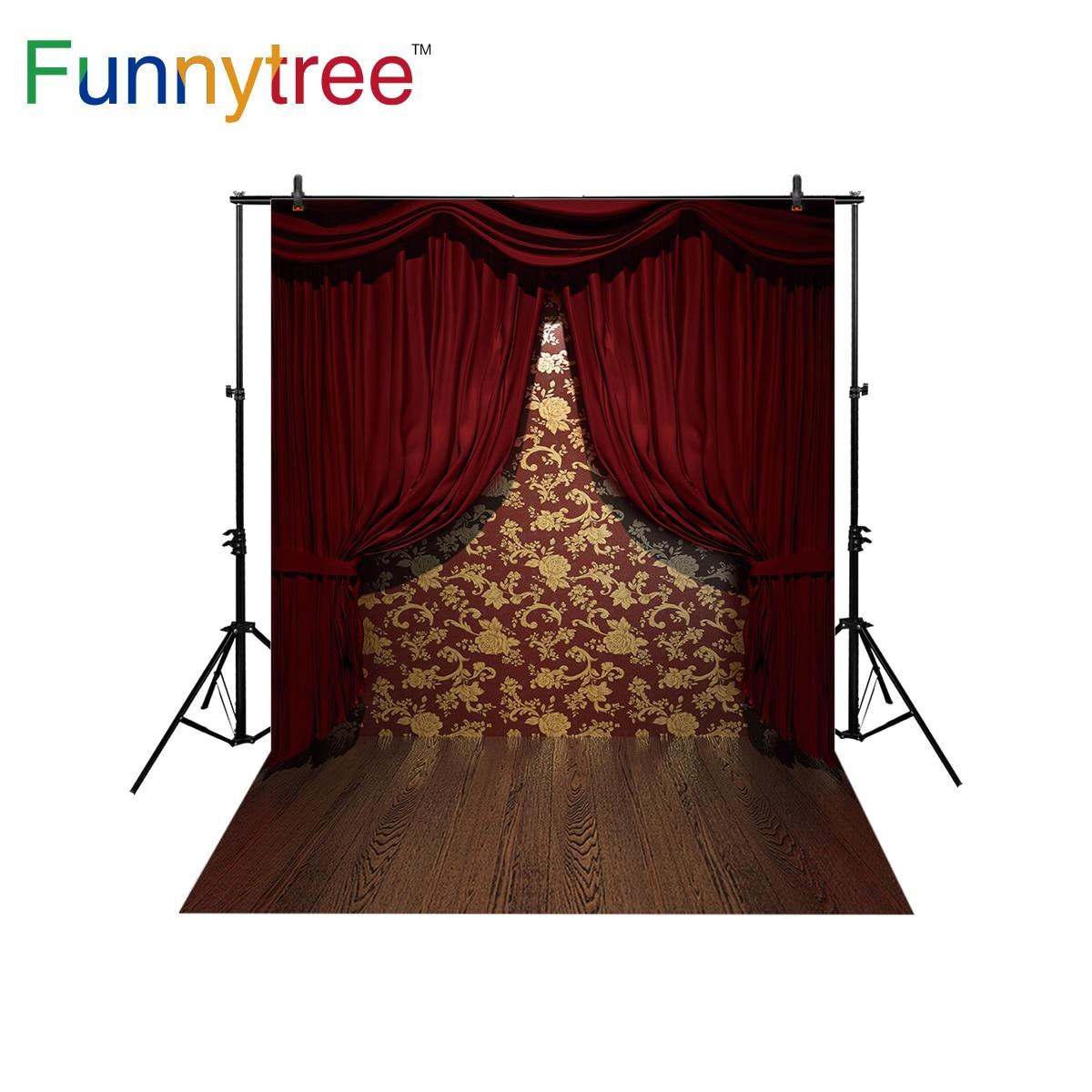 Fondo de árbol divertido para estudio fotográfico cortina roja patrón de escenario suelo de madera vintage Fondo cabina de foto sesión fotográfica