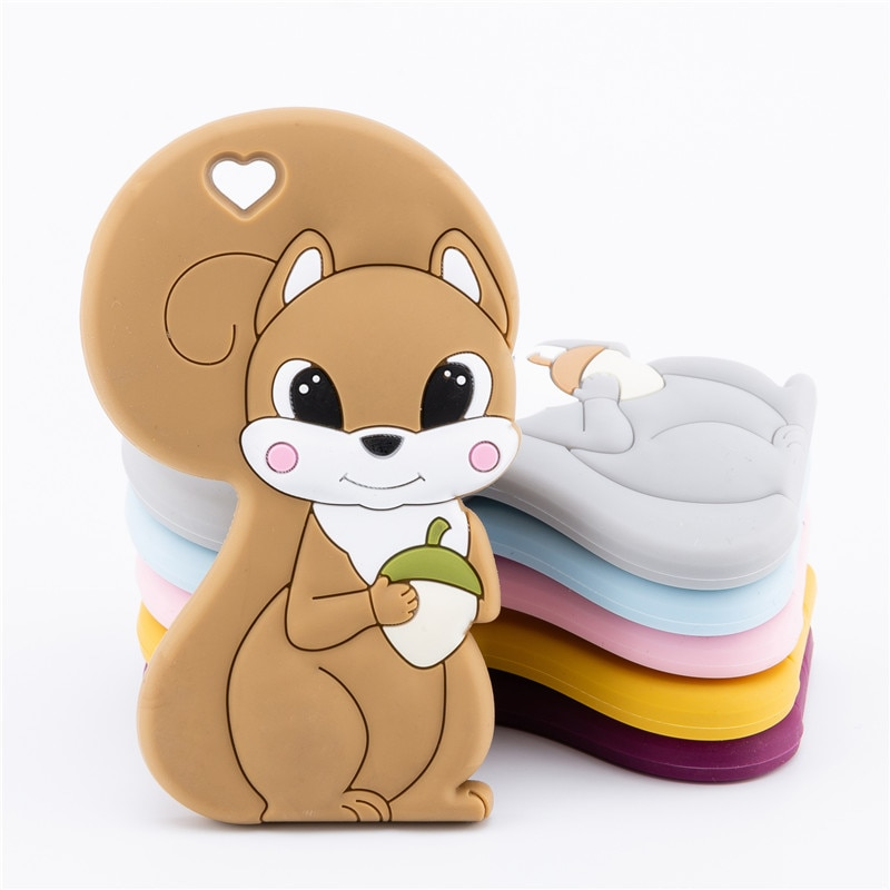 1PC Silicone Teether Baby Squirrel Food Grade Silicone Rodent Pendant For Pacifier Baby Goods Baby Teethers For Teeth BPA Free недорого