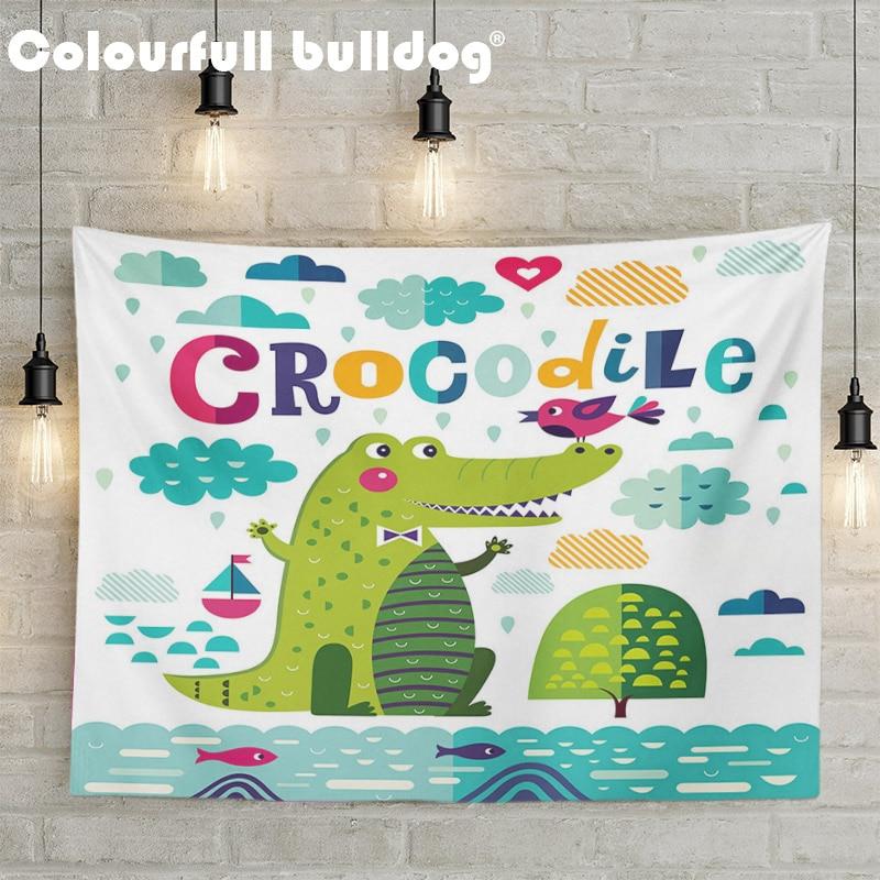 Dibujos Animados verde cocodrilo tapiz naranja azul nube pared tapices colgantes pájaros barco pez elefante playa mantas cinta de flores