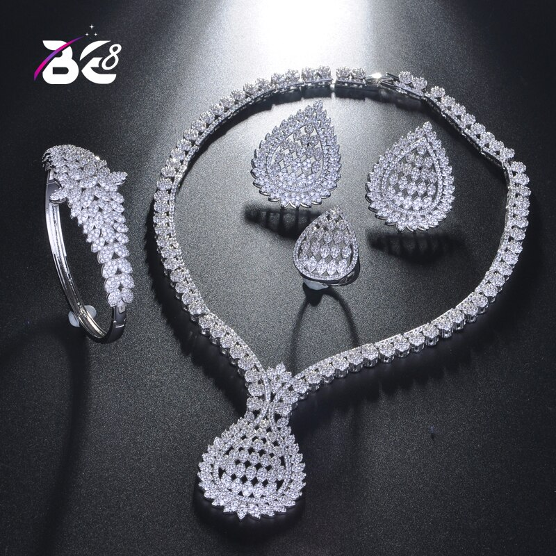Be 8 Wedding Bridal Jewelry Sets for Women Indian White Color Cubic Zirconia Vintage Dubai African Beads Jewelry Set S224
