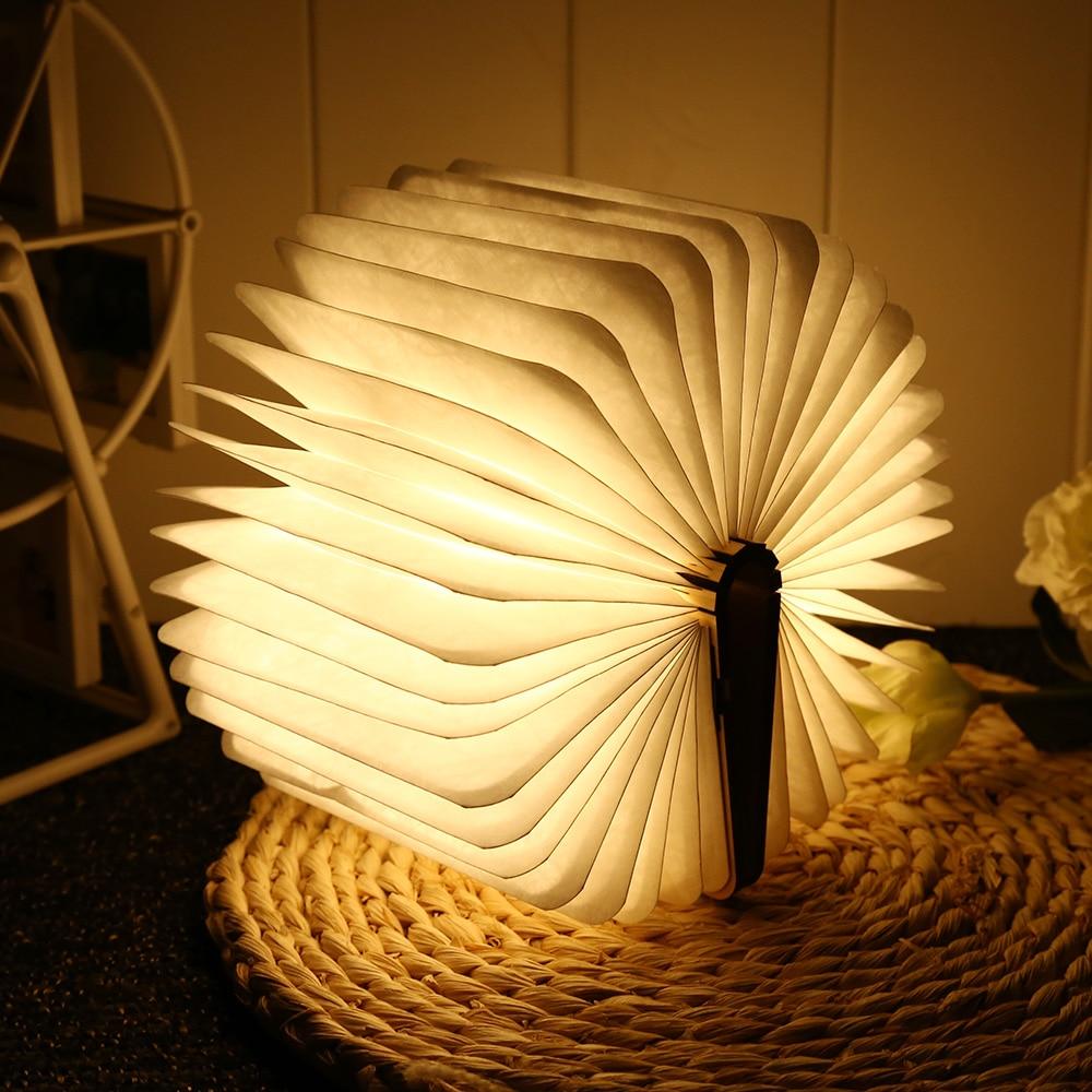 Lámpara de libro recargable de madera Mini mesa plegable L16cm multicolor Led escritorio USB Lámpara de noche decoración de cabecera de habitación iluminación