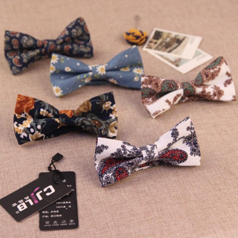 24colors  fashion designer mens bow ties cotton floral print flower high-end bowtie for men wedding 10pcs/lot