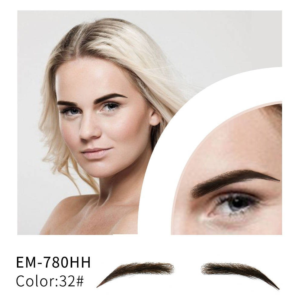salonchat hand tied false lace eyebrows 100% human hair eyebrows human hair invisible handmade fake eyebrows for women man Neitsi Woman One Pair Fake Eyebrows Realistic Comfortable 100% Human Hair Handmade Fake Eyebrows For Makeup Party EM-780HH-3#