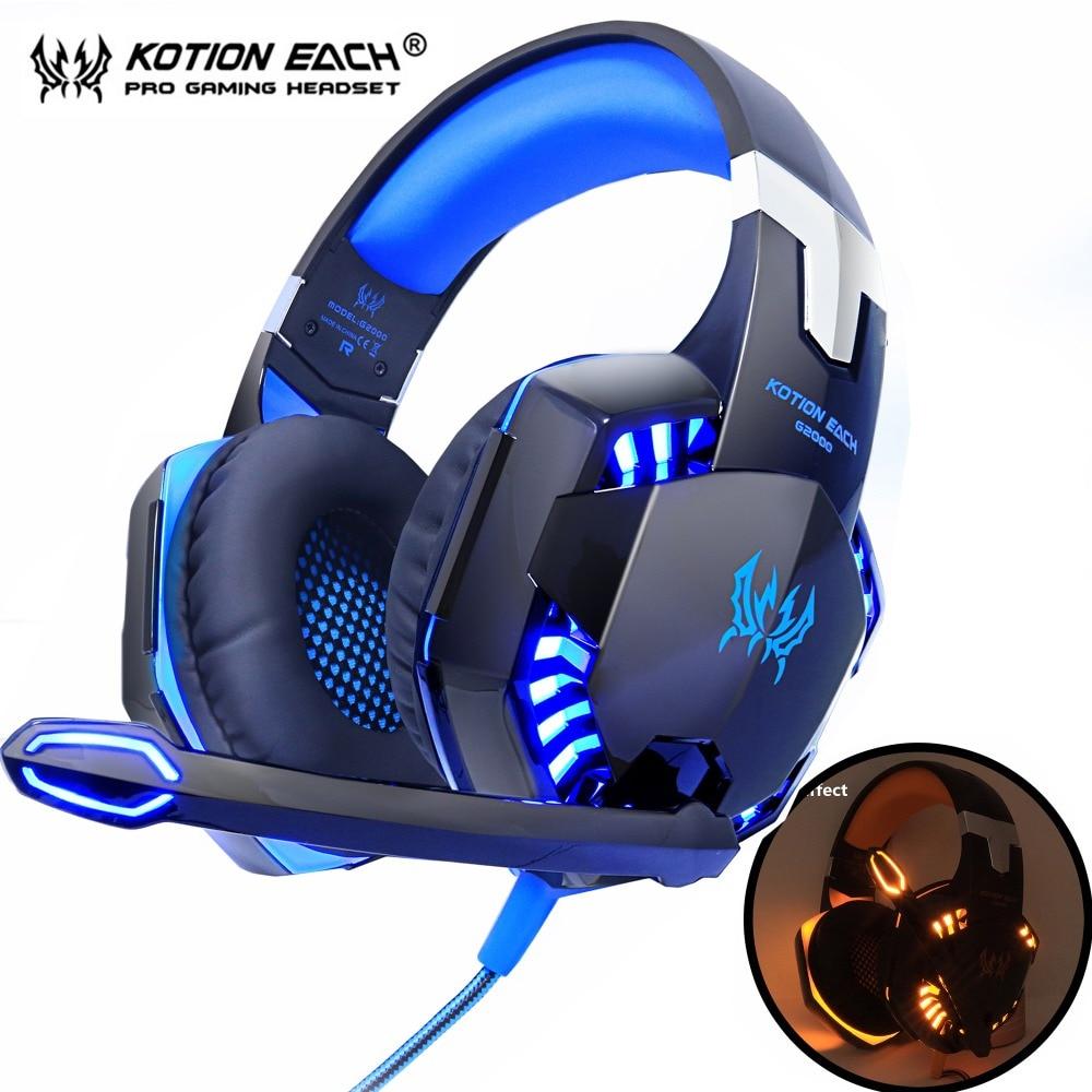 سماعات رأس لألعاب الفيديو-KOTION EACH., سماعات ذات صوت ستاريو عميق ، تحتوي على مايكروفون و أضواء خلفية ، للعبة بلايستاشن 4 ، و الهاتف ، و الحاسوب الم...