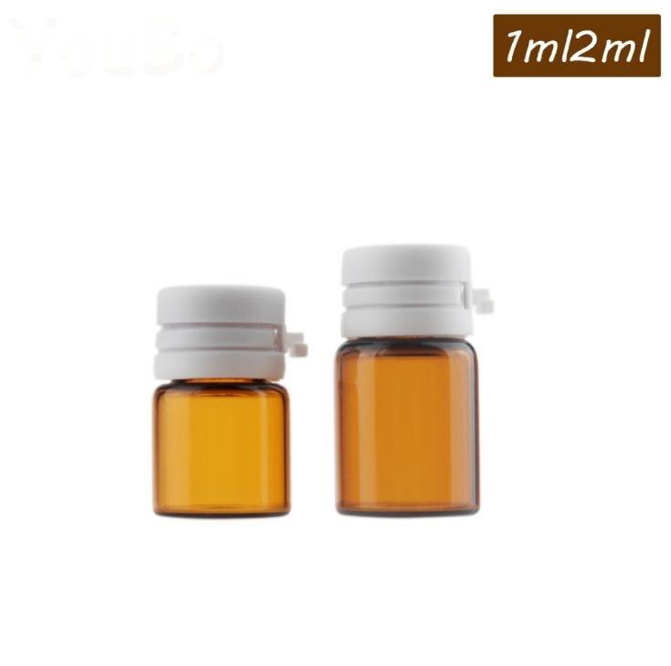 1ml 2ml Mini Vial de vidrio ámbar con tapa de desmontaje botella de aceite esencial muestra pequeña olla recargable SN1704