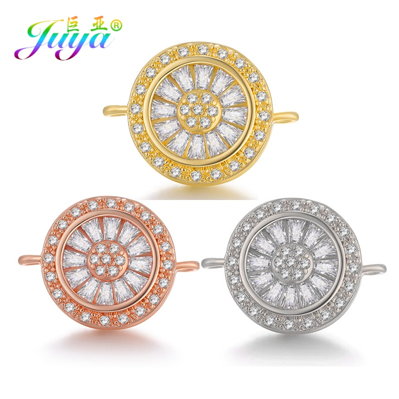 Juya DIY nuevos hallazgos de joyería Cubiz Zirconia flor joyería conectores accesorios hechos a mano pulseras collar pendientes Material
