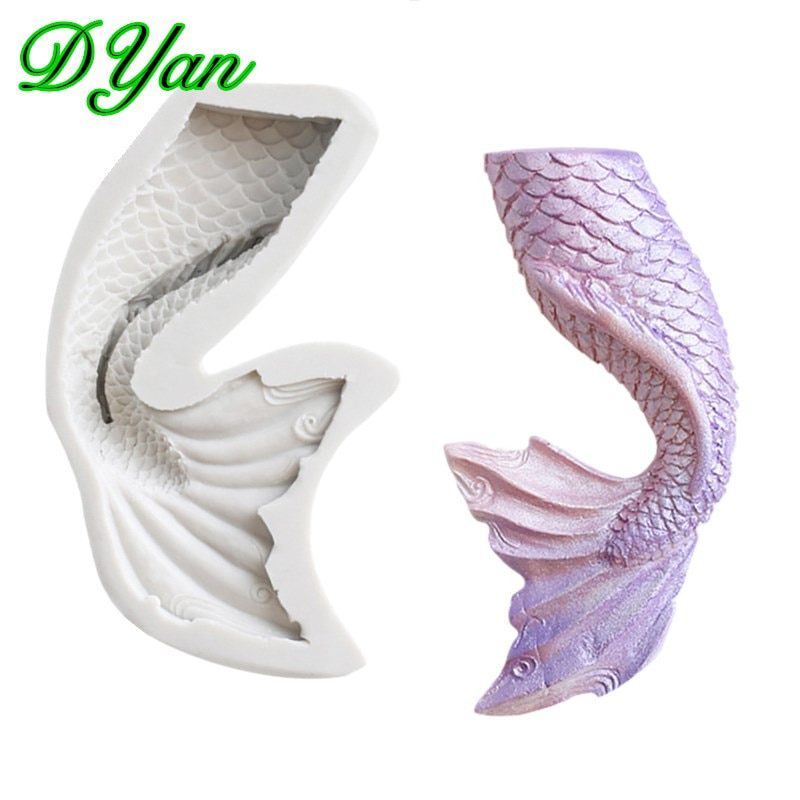 Nueva cola de sirena Fondant pastel silicona molde Chocolate molde DIY cola de pez pastel decoración molde A1707