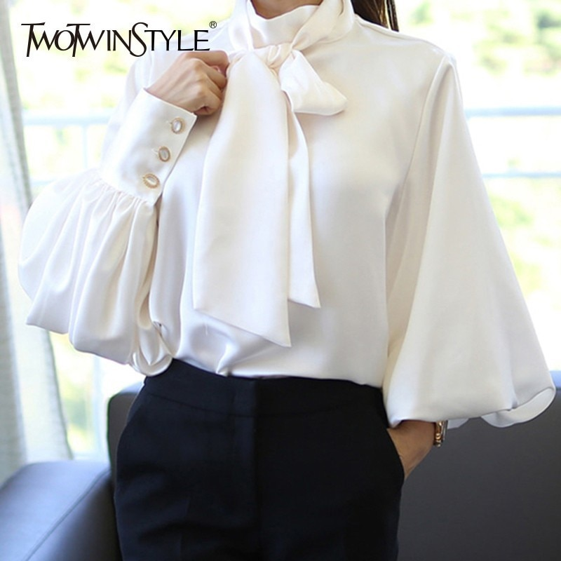 GALCAUR Lantern Sleeve Satin Shirts Blouse Women Lace up Casual Blouses Tops Female Korean Clothes Plus Size Autumn 2020