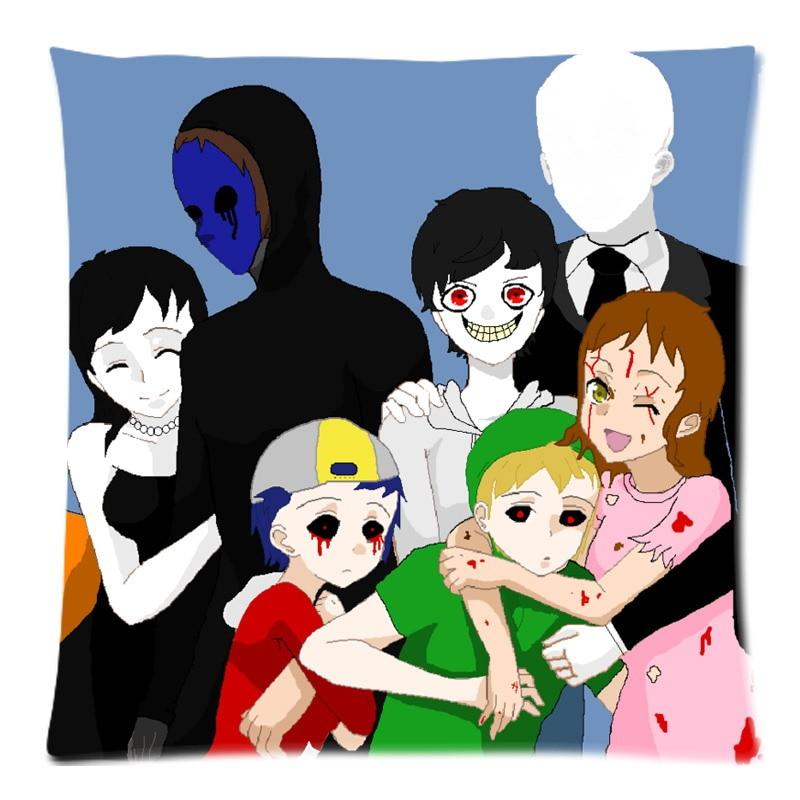"""Decorative Cushion Cover Creepypasta Family Throw Pillow Case for Sofa Bed Cotton Linen Pillow Slip Christmas Gift 18""""X18"""""""