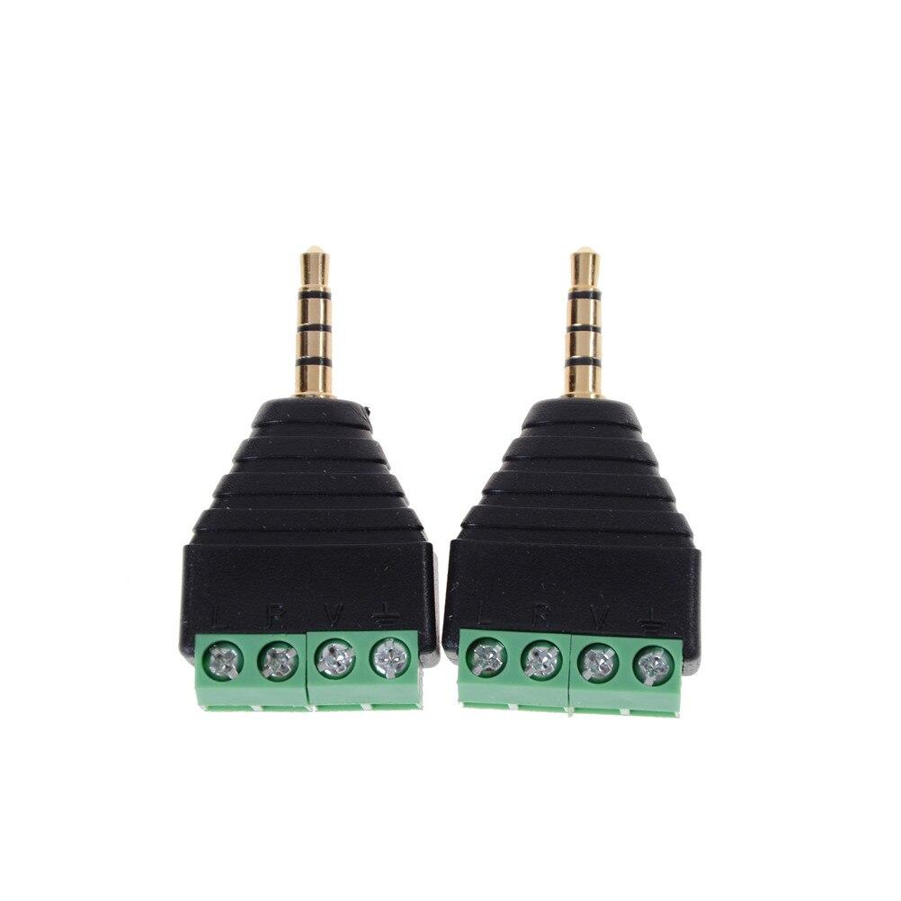 2 pçs/lote 3.5mm macho estéreo plug para av parafuso balun vídeo terminal jack 3.5mm macho 4 pinos plugue do bloco de terminais conector