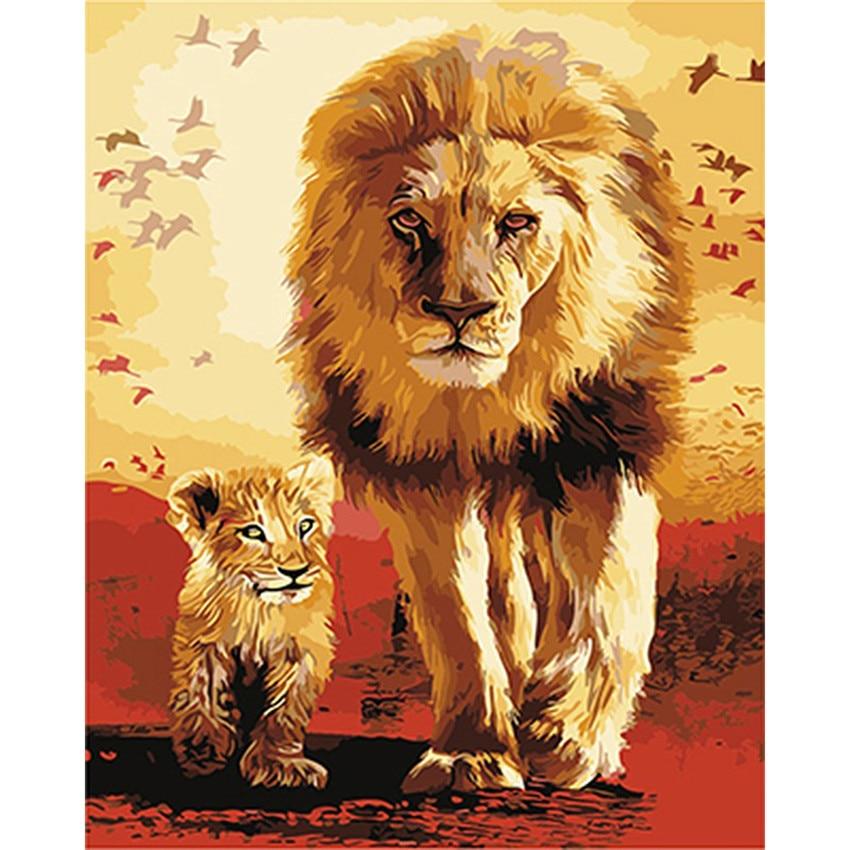 Diy pintura digital por números pacote um leão e seu filho pintura a óleo pintura mural kits de colorir parede arte imagem presente sem moldura