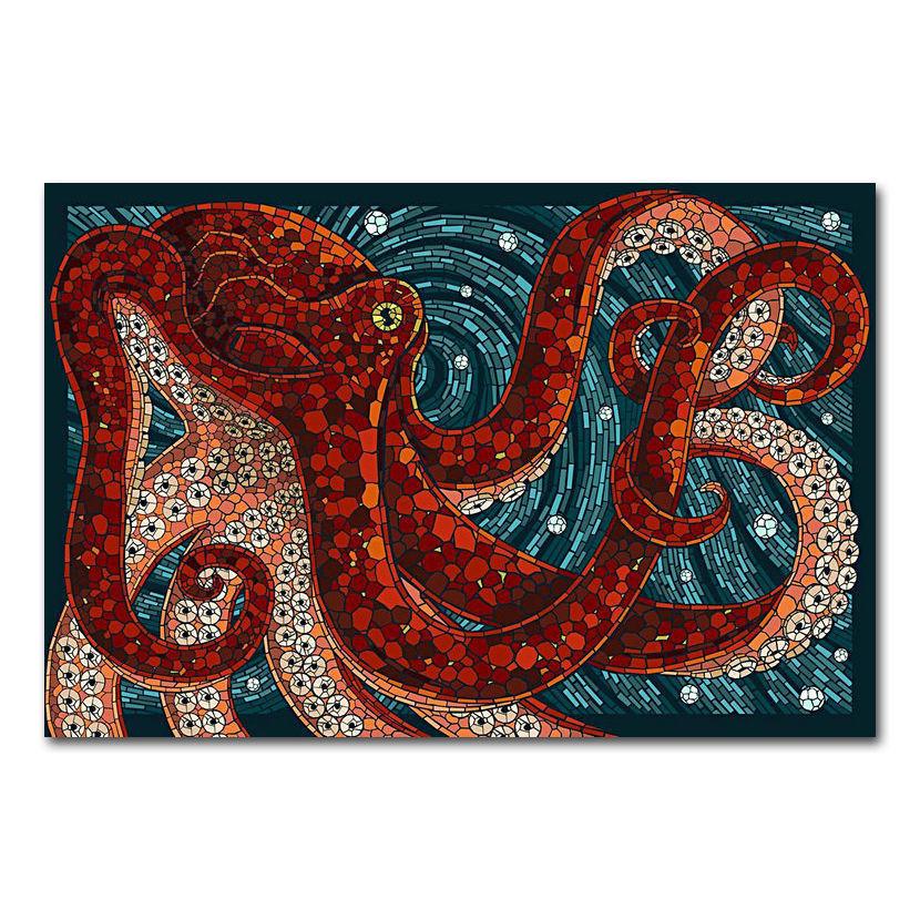 Póster de pulpo de Porygon salvaje con estampado artístico 14x21 24x36 27x40 pulgadas de seda X-515 decoración de lienzo para pared